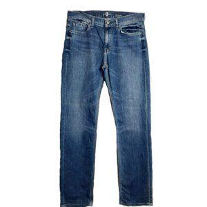 7 For All Mankind Medium Wash Denim Slim Fit Jeans
